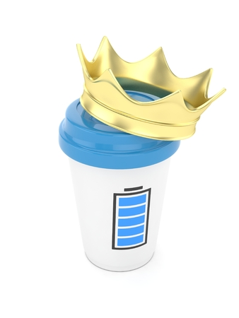 Coffee cup with  golden crown and battery on white background. Concept of luxury royal coffee. 3D rendering.
