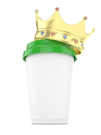 energize: Coffee cup with  golden crown on white background. Concept of luxury royal coffee. 3D rendering. Stock Photo