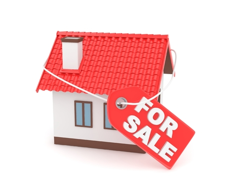 miniature: Miniature model of house real estate for rent label on white background. 3D rendering.