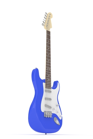 truss: Isolated blue electric guitar on white background.  Musical instrument for rock, blues, metal songs. 3D rendering.