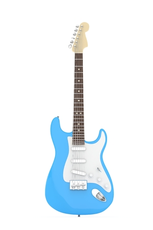 indie: Isolated blue electric guitar on white background.  Musical instrument for rock, blues, metal songs. 3D rendering.