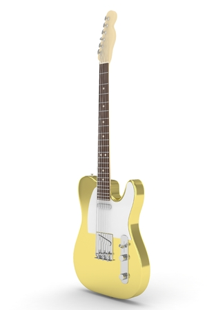 truss: Isolated golden electric guitar on white background.  Musical instrument for rock, blues, metal songs. 3D rendering.