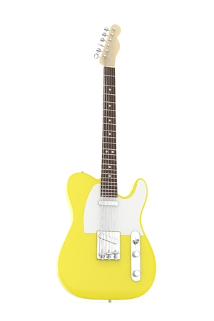 indie: Isolated yellow electric guitar on white background.  Musical instrument for rock, blues, metal songs. 3D rendering. Stock Photo