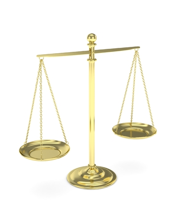 judgement: Isolated golden scales on white background. Symbol of judgement. Law, measurement, liberty in one concept. 3D rendering.