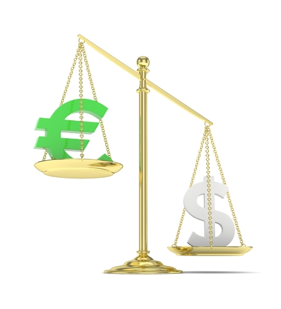 stability: Isolated old fashioned pan scale with dollar and euro on white background. American and european currency. Dollar is heavier. Silver usd, green euro. 3D rendering. Stock Photo