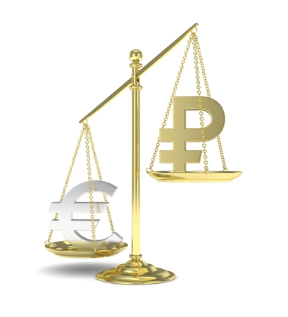 buying stock: Isolated golden scales with silver euro and golden ruble currency. Russian and european finance. Measuring of market stability. 3D rendering.