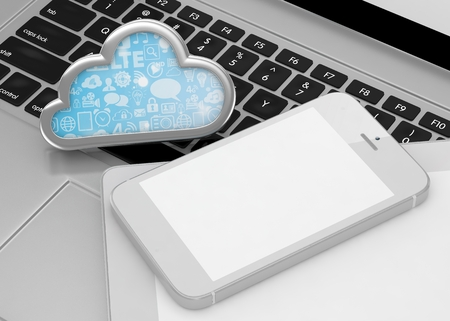 media network: laptop, tablet pc, smart phone and cloud. 3d rendering.