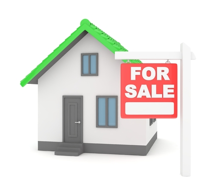isolated sign: Miniature model of house real estate for sale on white background. 3D rendering.