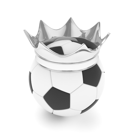 Soccer ball with silver crown on white background. 3D rendering. Stock Photo