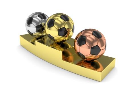 third world: Three gloss soccer balls on golden pedestal. 3D rendering.