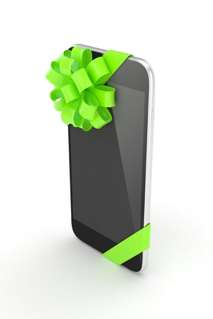 green bow: Black phone with green bow. 3D rendering. Stock Photo