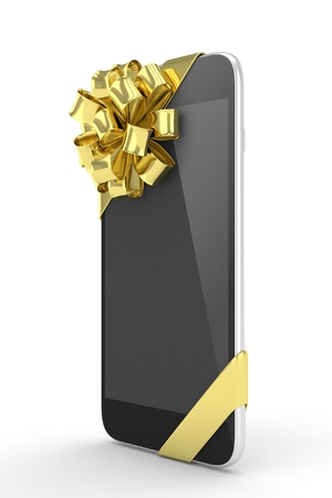 fiestas electronicas: tel�fono negro con el arco de oro. representaci�n 3D.