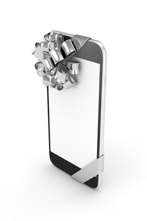 silver screen: Black phone with silver bow and empty screen. 3D rendering.