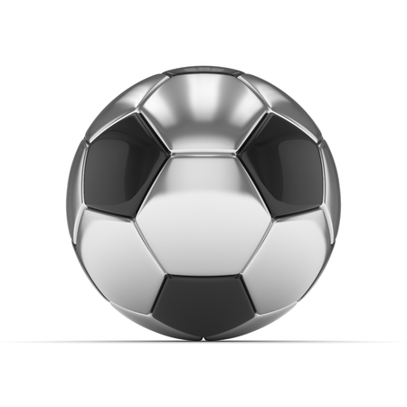 Silver soccer ball on white background. 3D rendering. Stock Photo