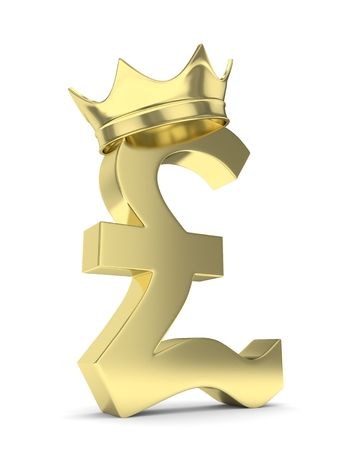 Isolated golden pound sign with crown on white background. British currency. Concept of investment, european market, savings. Power, luxury and wealth. Great Britain, Nothern Ireland. 3D rendering. Stock Photo
