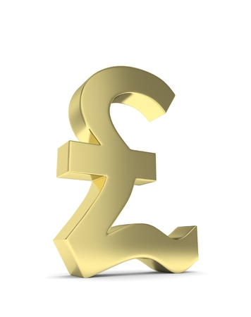 british pound: Isolated golden pound sign on white background. British currency. Concept of investment, european market, savings. Power, luxury and wealth. Great Britain, Nothern Ireland. 3D rendering. Stock Photo