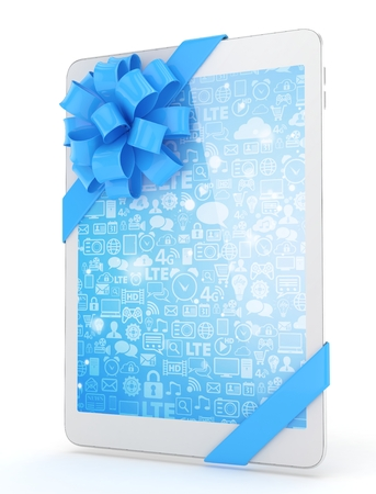blue screen: White tablet with blue bow and blue screen. 3D rendering.