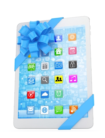 White tablet with blue bow and icons. 3D rendering.