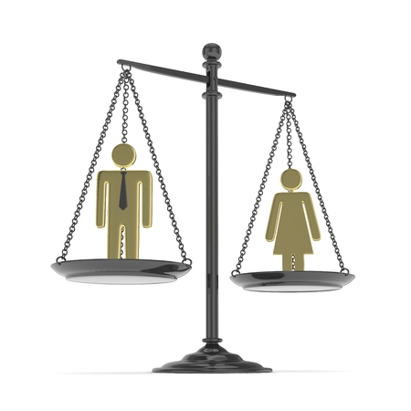 Isolated old fashioned pan scale with golden man and woman on white background. Gender inequality. Equality of sexes. Law issues. Silver model. 3D rendering.