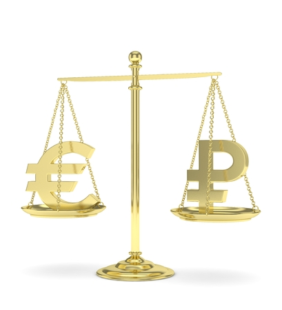 Isolated golden scales with golden euro and ruble currency. Russian and european finance. Measuring of market stability. 3D rendering. Stock Photo