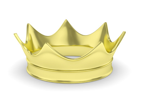 coronation: Simple golden royal crown on white. 3D rendering.