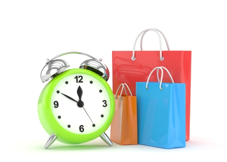 alarm clock and shopping bag (time to buy concept). 3d rendering. Stock Photo