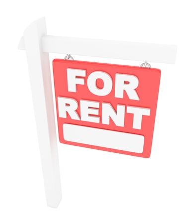 lease: For rent sign lease real estate on white background. 3D rendering. Stock Photo