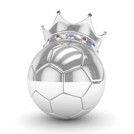 Silver soccer ball with silver crown on white background. 3D rendering.