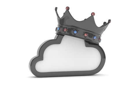 broadband: Isolated black cloud icon with crown and gems on white background. Symbol of communication, network and technology. Broadband. Online database. 3D rendering.