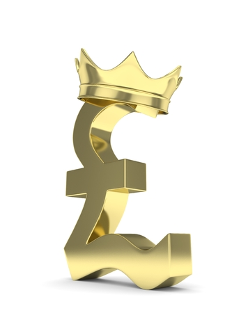 british pound: Isolated golden pound sign with crown on white background. British currency. Concept of investment, european market, savings. Power, luxury and wealth. Great Britain, Nothern Ireland. 3D rendering. Stock Photo