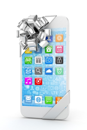 fiestas electronicas: White phone with silver bow and icons. 3D rendering.