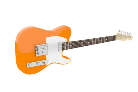 Isolated orange electric guitar on white background. Concert and studio equipment. Musical instrument. Rock, blues style. 3D rendering. Stock Photo