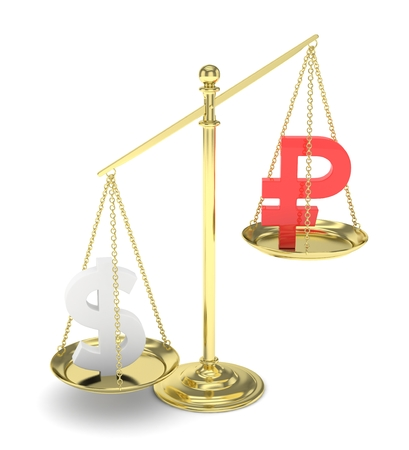 Isolated old fashioned pan scale with dollar and ruble on white background. American and russian currency. Dollar is heavier. Silver usd, red rouble. 3D rendering.