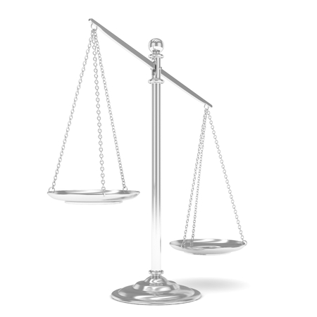 imbalance: Isolated white silver scales on white background. Symbol of judgement. Law, measurement, liberty in one concept. 3D rendering. Stock Photo