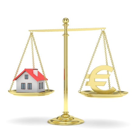 Isolated golden scales with golden euro and house on white background. Investment or savings concept. Real estate and currency. 3D rendering.
