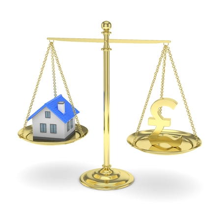 best buy: Isolated golden scales with golden pound and house on white background. Investment or savings concept. Real estate and currency. 3D rendering.