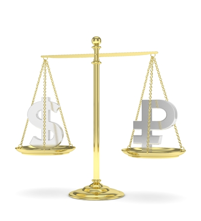 Isolated old fashioned pan scale with dollar and ruble on white background. American and russian currency. Currency equality. 3D rendering.
