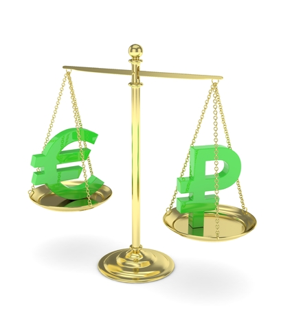 buying stock: Isolated golden scales with green euro and ruble currency. Russian and european finance. Measuring of market stability. 3D rendering.