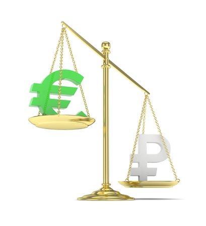buying stock: Isolated golden scales with green euro and silver ruble currency. Russian and european finance. Measuring of market stability. 3D rendering. Stock Photo