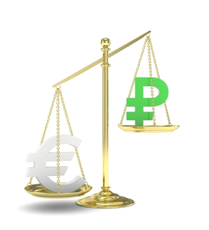 global rates: Isolated golden scales with silver euro and green ruble currency. Russian and european finance. Measuring of market stability. 3D rendering.