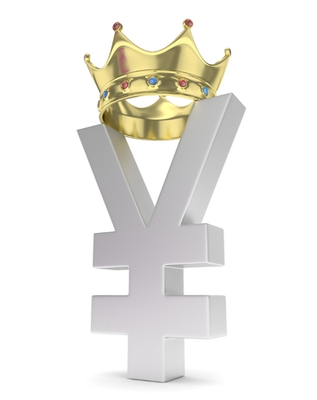 yuan: Isolated silver yen yuan sign with golden crown on white background. Chinese japanese currency. Concept of investment, asian market, savings. Power, luxury and wealth. 3D rendering.
