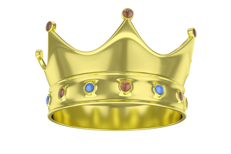 Golden royal crown with blue and red gems on white. 3D rendering.