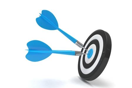 dart board: Three arrows darts in center. 3d rendering.