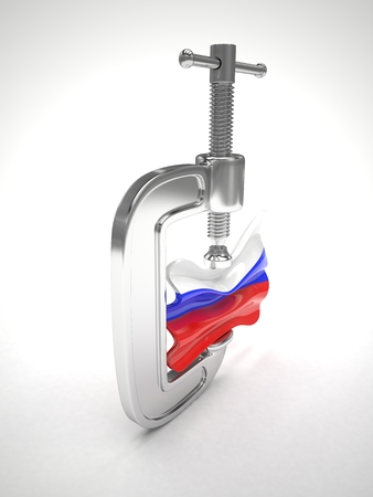 Russias flag in clamp, crisis, sanction concept. 3d rendering.
