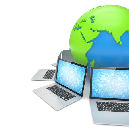 Laptop network around earth globe. 3d render Stock Photo