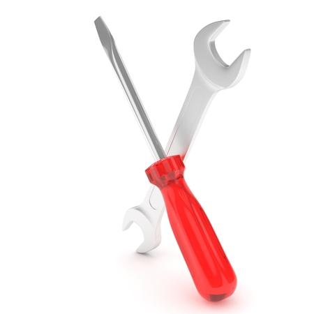 customized: 3D Illustration Wrench and screwdriver, service concept