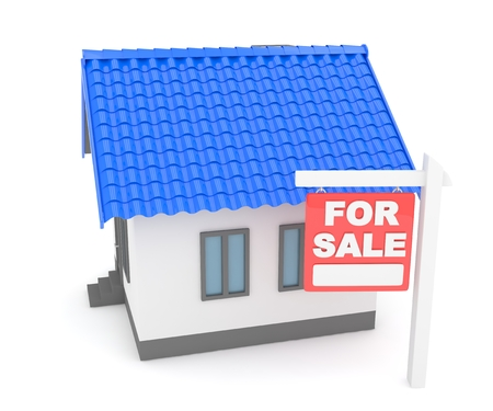 miniature: Miniature model of house real estate for sale on white background. 3D rendering.