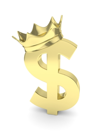 american currency: Isolated golden dollar sign with crown on white background. American currency. Concept of investment, american market, savings. Power, luxury and wealth. 3D rendering. Stock Photo