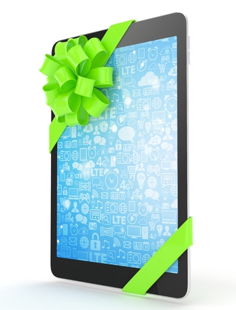 Black tablet with green bow and blue screen. 3D rendering. Stock Photo