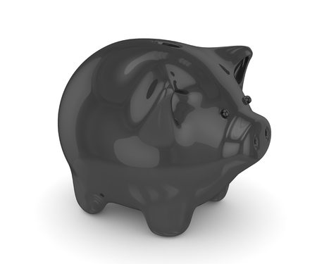 piggybank: Black shiny piggybank on white background. Concept of black friday, investment, savings and more. 3D rendering.